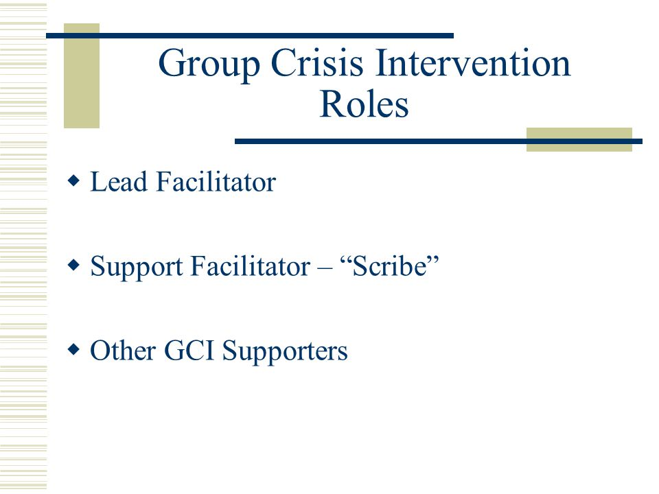 Group Crisis Intervention Roles