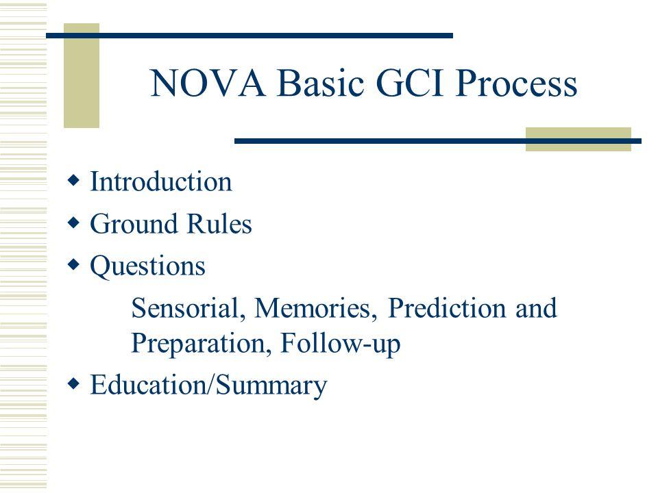 NOVA Basic GCI Process Introduction Ground Rules Questions