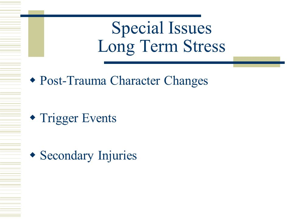 Special Issues Long Term Stress