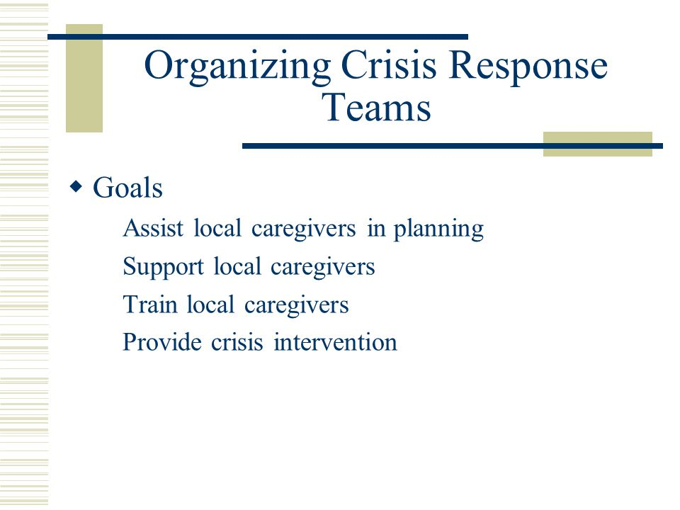 Organizing Crisis Response Teams