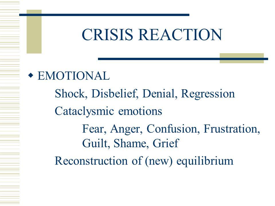 CRISIS REACTION EMOTIONAL Shock, Disbelief, Denial, Regression