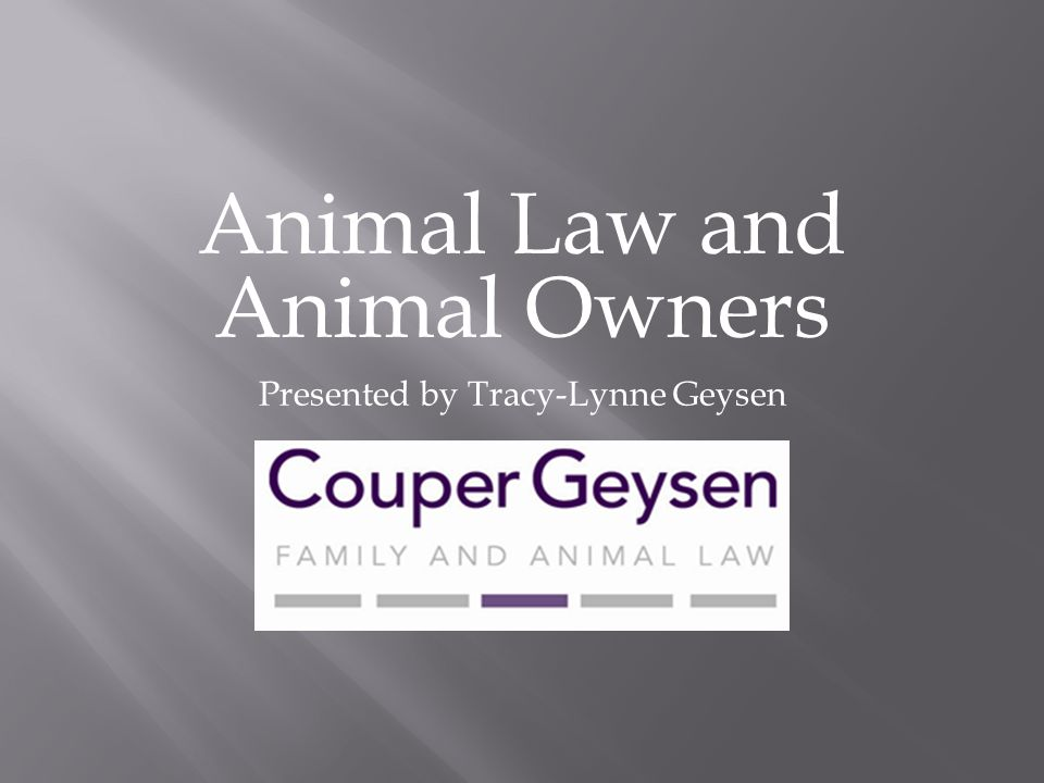 Animal Law and Animal Owners Presented by Tracy-Lynne Geysen
