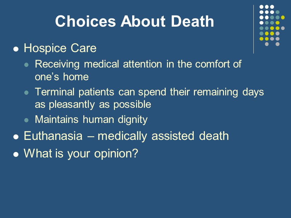 Choices About Death Hospice Care Euthanasia – medically assisted death