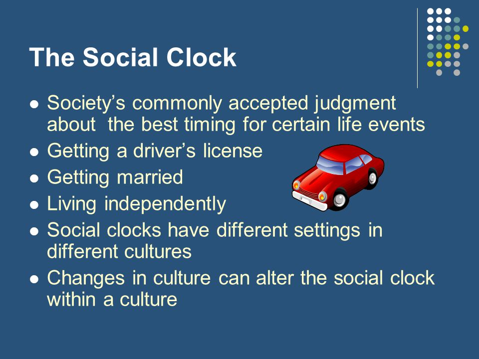 The Social Clock Society's commonly accepted judgment about the best timing for certain life events.