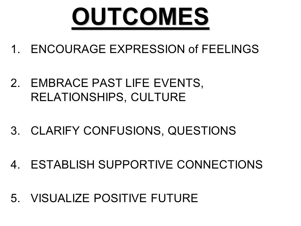 OUTCOMES ENCOURAGE EXPRESSION of FEELINGS