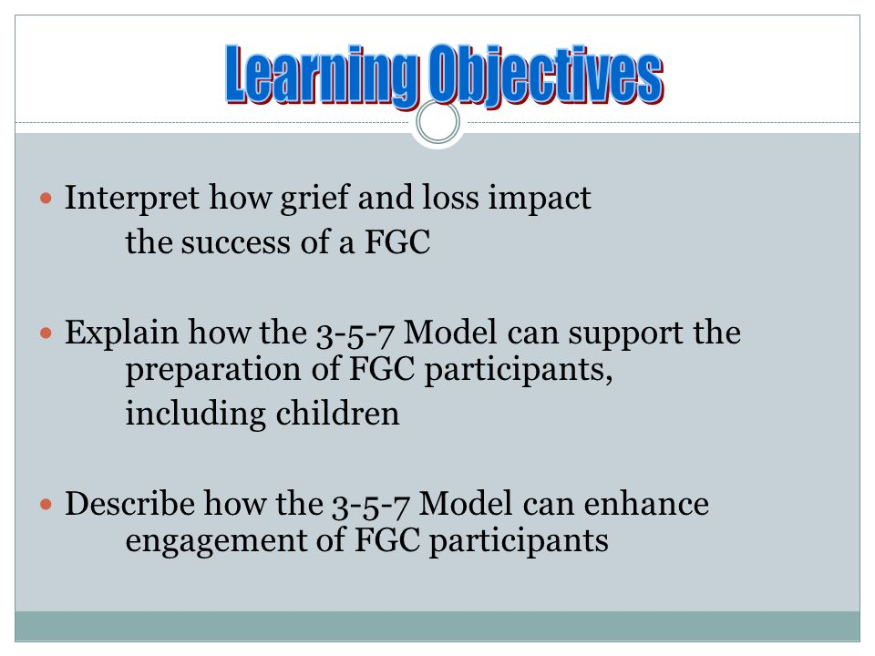 Learning Objectives Interpret how grief and loss impact