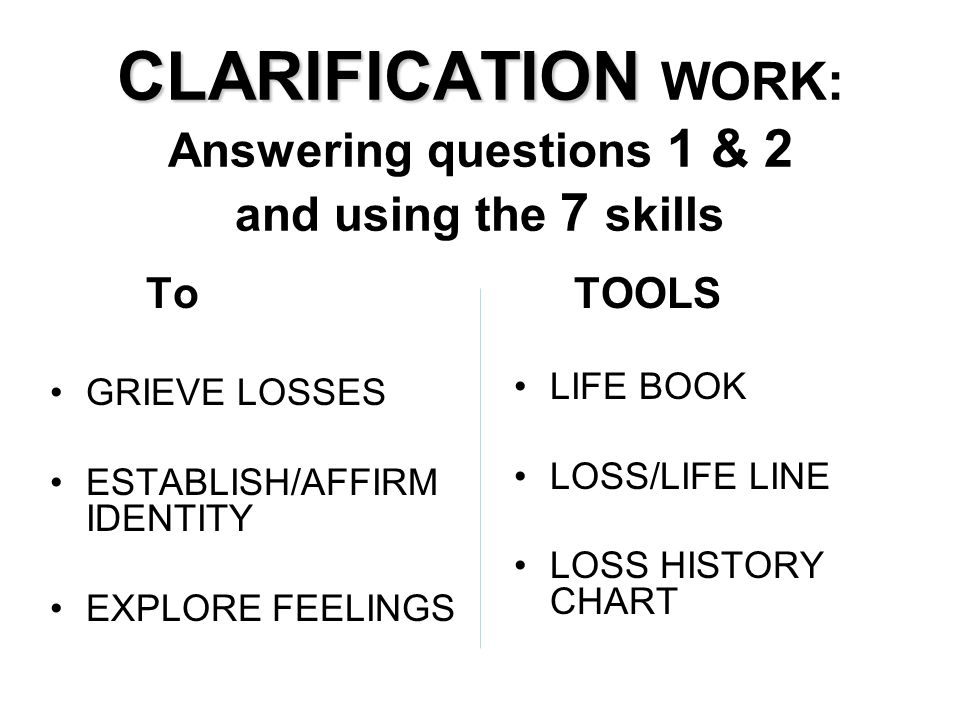 CLARIFICATION WORK: Answering questions 1 & 2 and using the 7 skills
