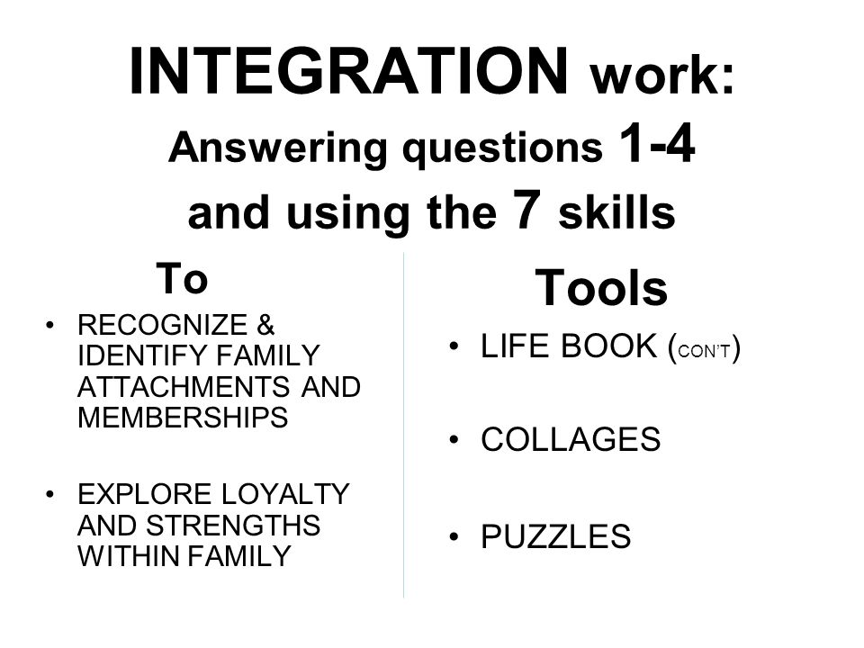 INTEGRATION work: Answering questions 1-4 and using the 7 skills