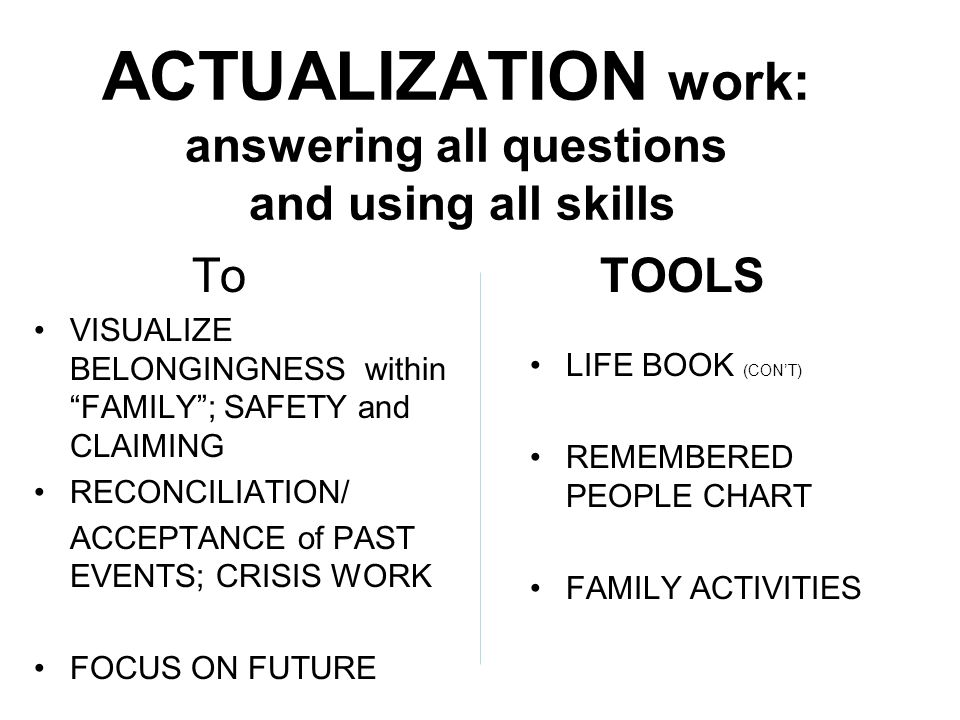 ACTUALIZATION work: answering all questions and using all skills