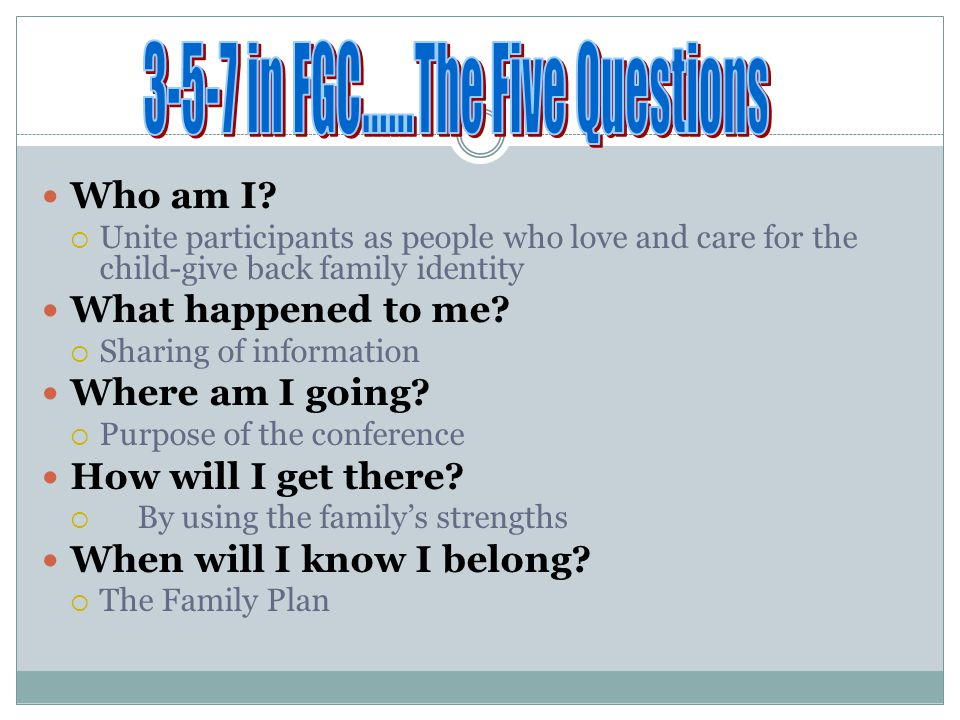 3-5-7 in FGC……The Five Questions
