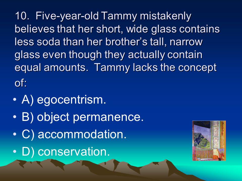 A) egocentrism. B) object permanence. C) accommodation.