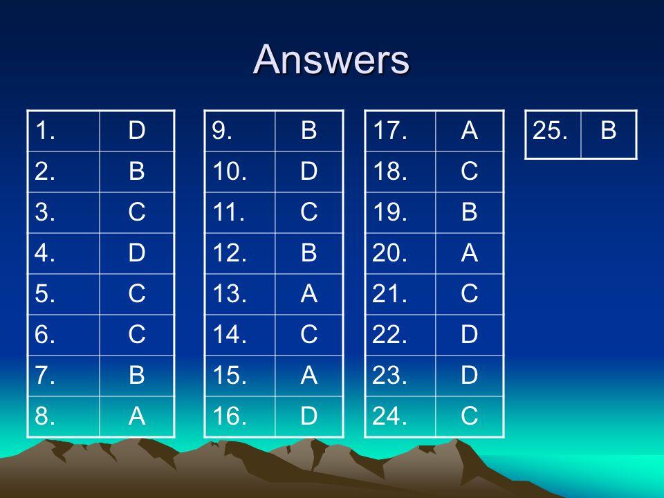 Answers 1. D. 2. B. 3. C. 4. 5. 6. 7. 8. A. 9. B. 10. D. 11. C. 12. 13. A. 14.