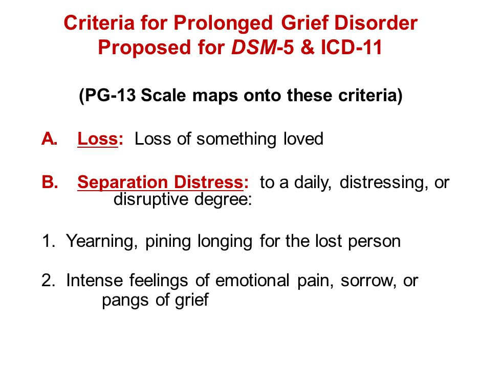Criteria for Prolonged Grief Disorder Proposed for DSM-5 & ICD-11