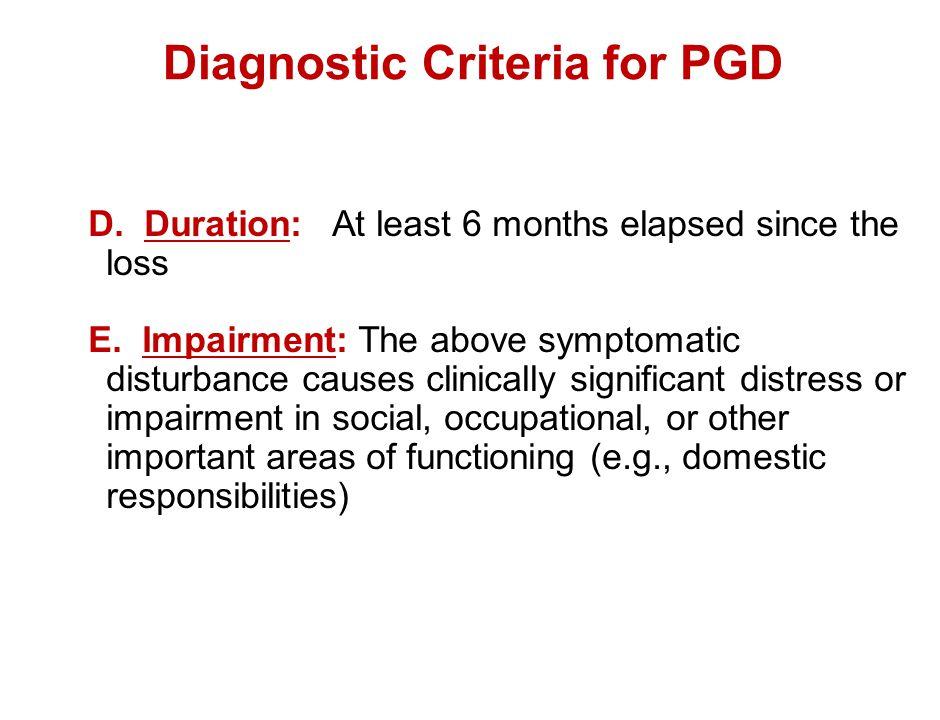 Diagnostic Criteria for PGD