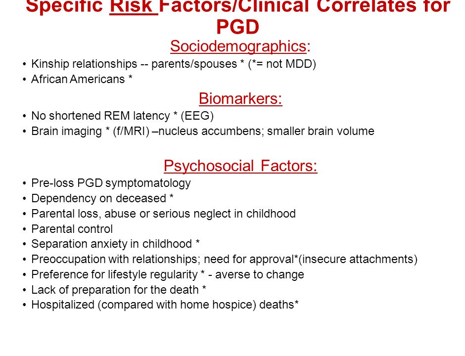 Specific Risk Factors/Clinical Correlates for PGD
