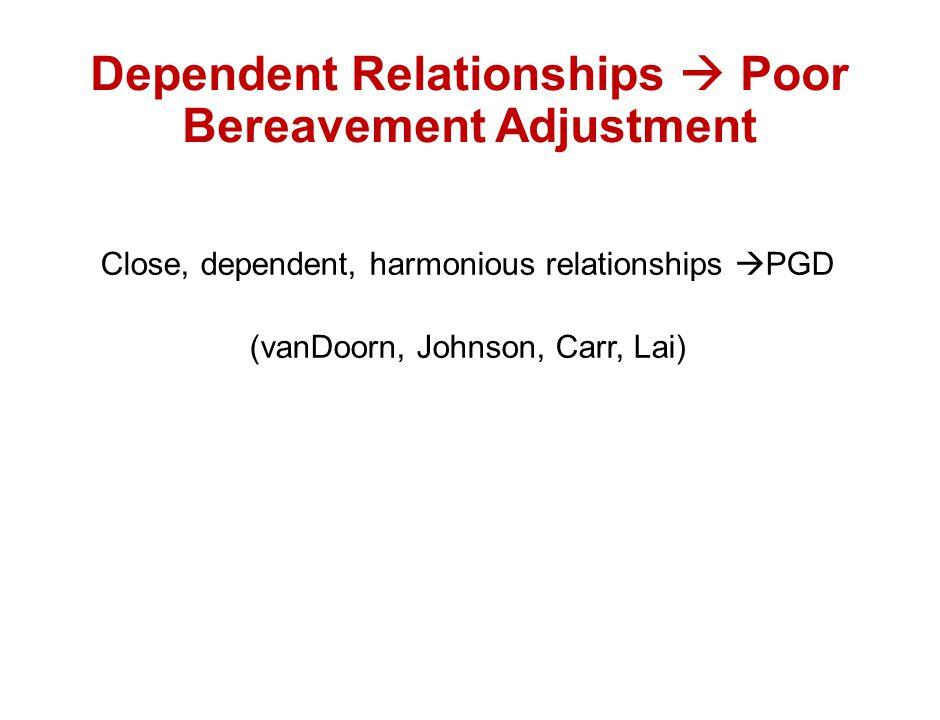 Dependent Relationships  Poor Bereavement Adjustment
