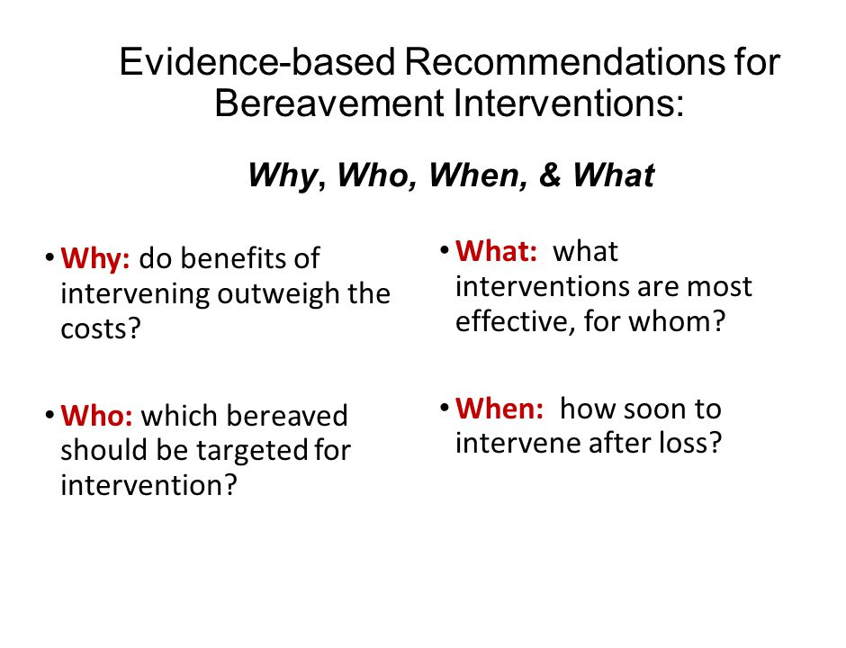 Evidence-based Recommendations for Bereavement Interventions: Why, Who, When, & What