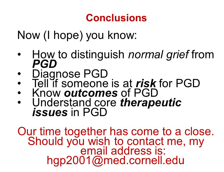 How to distinguish normal grief from PGD Diagnose PGD