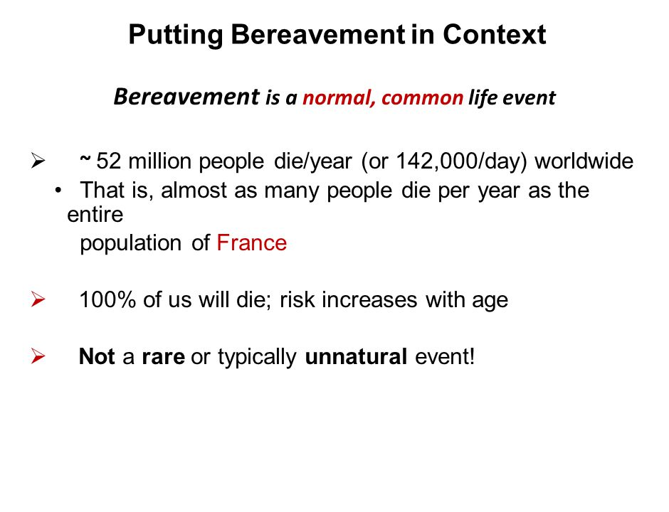 Putting Bereavement in Context