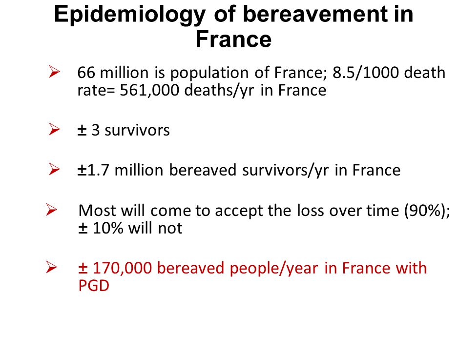 Epidemiology of bereavement in France