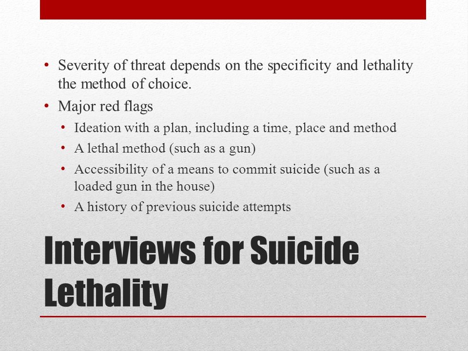 Interviews for Suicide Lethality