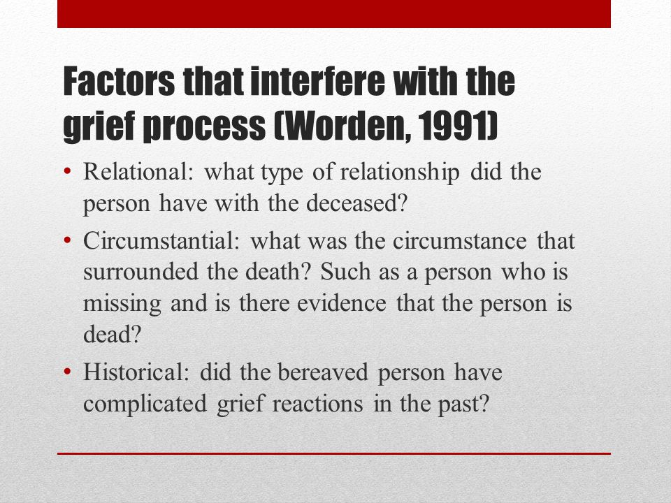 Factors that interfere with the grief process (Worden, 1991)