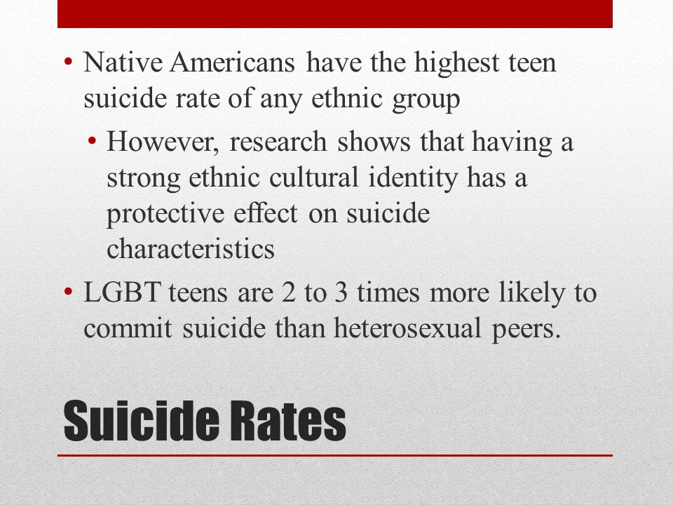 Native Americans have the highest teen suicide rate of any ethnic group
