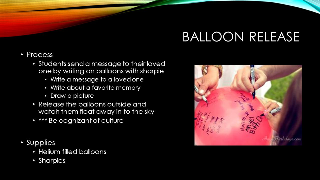 Balloon Release Process Supplies