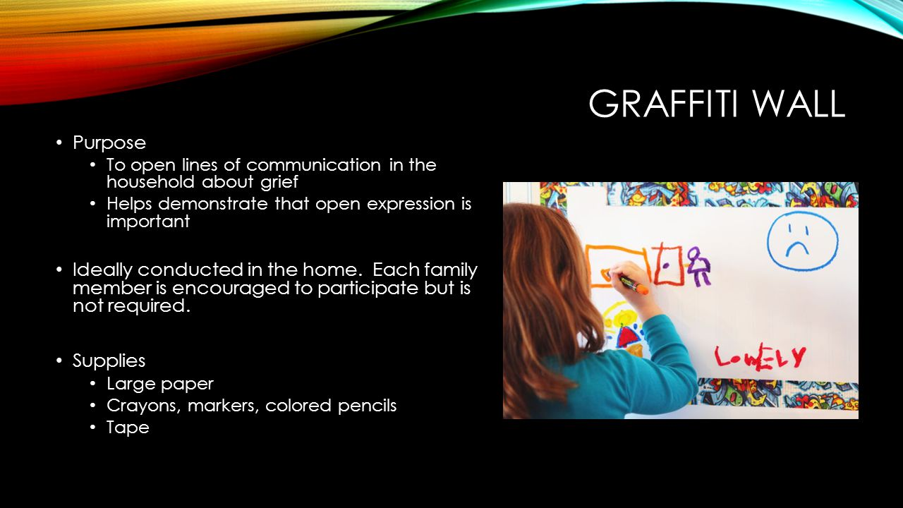 Graffiti Wall Purpose. To open lines of communication in the household about grief. Helps demonstrate that open expression is important.