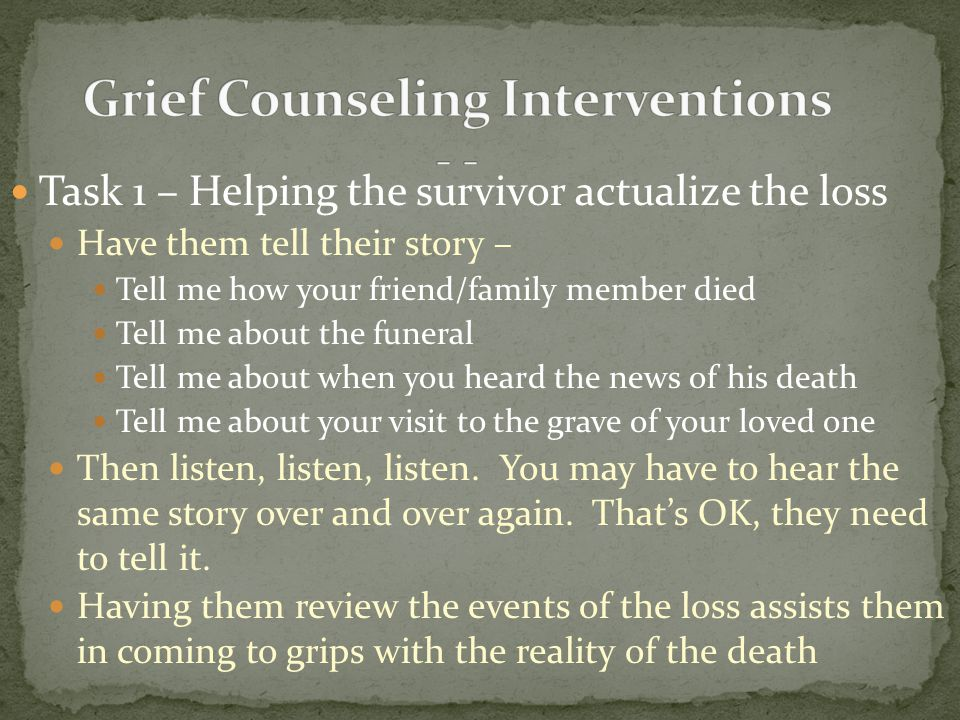 Grief Counseling Interventions - -
