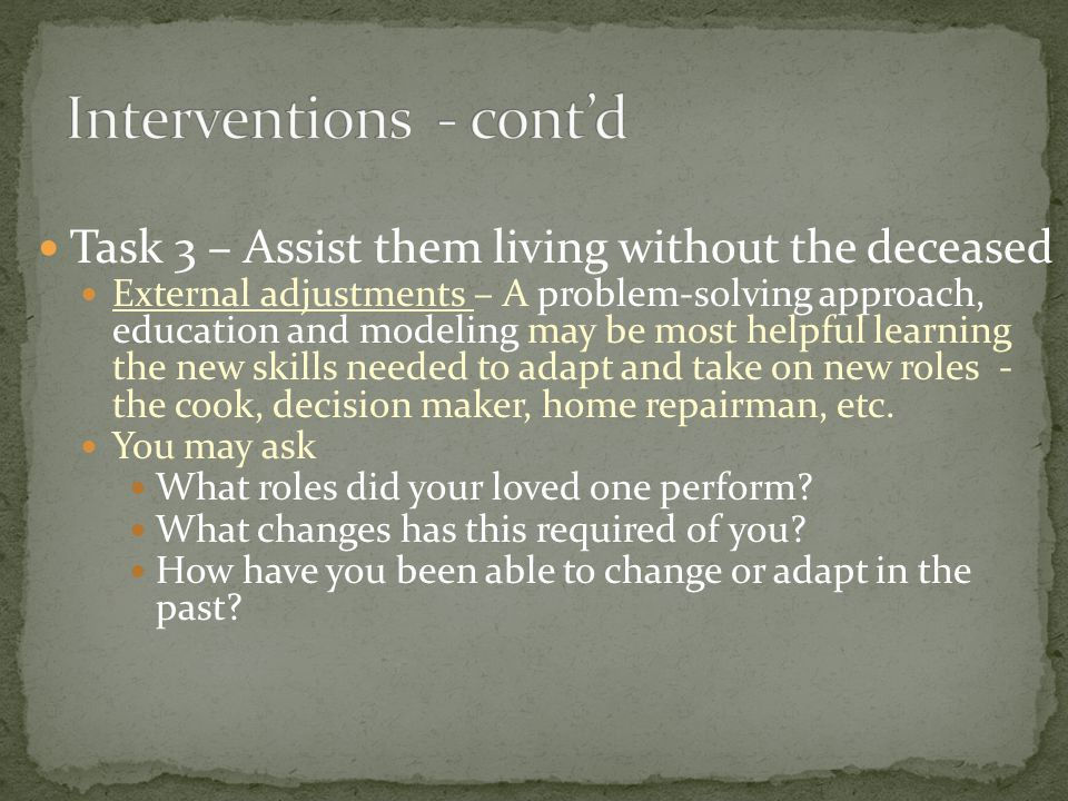 Interventions - cont'd