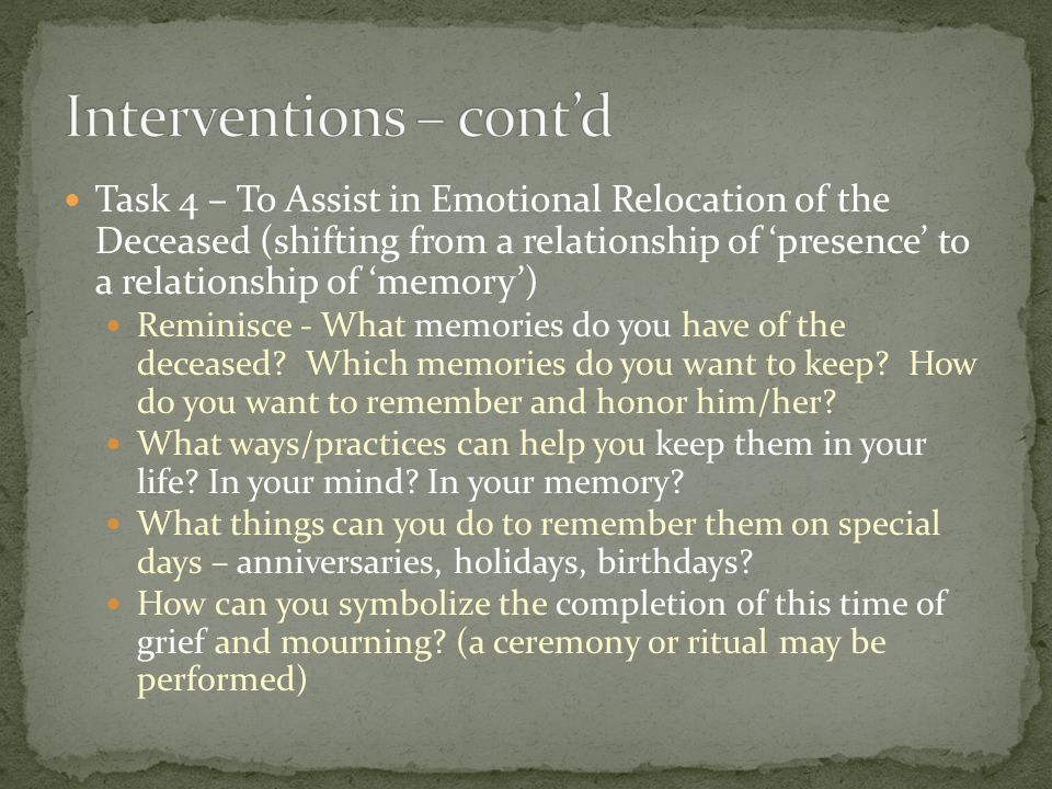 Interventions – cont'd