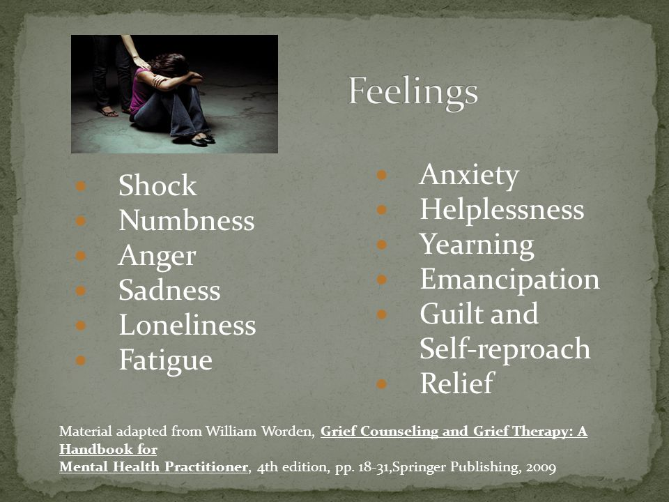 Feelings Anxiety Shock Helplessness Numbness Yearning Anger
