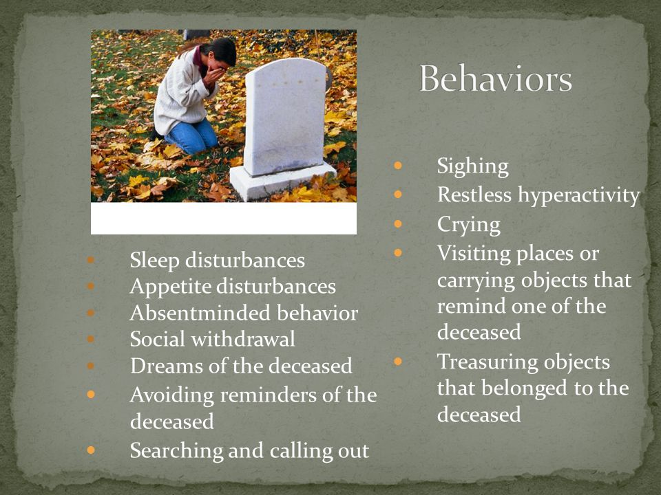 Behaviors Sighing Restless hyperactivity Crying