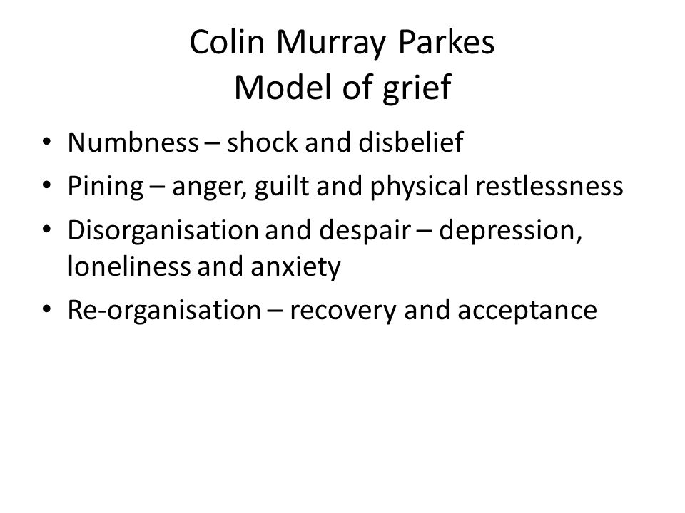 Colin Murray Parkes Model of grief