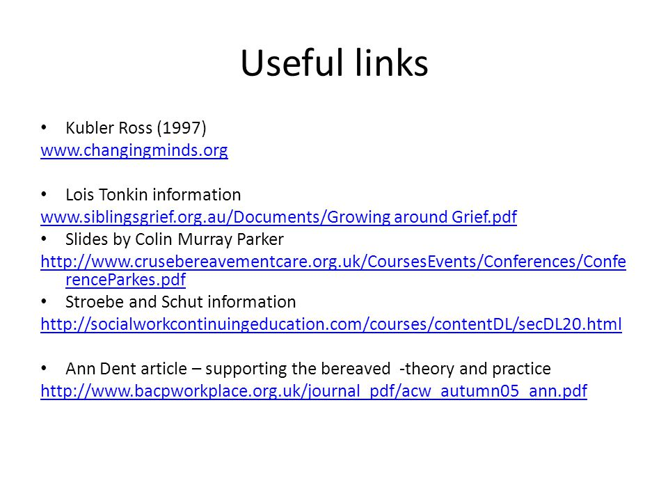 Useful links Kubler Ross (1997) www.changingminds.org
