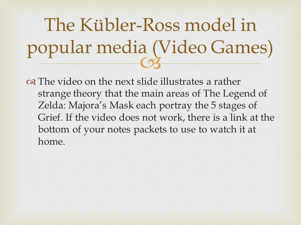 The Kübler-Ross model in popular media (Video Games)