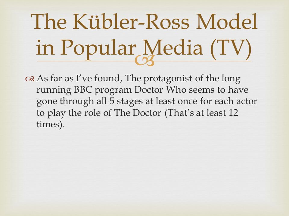 The Kübler-Ross Model in Popular Media (TV)