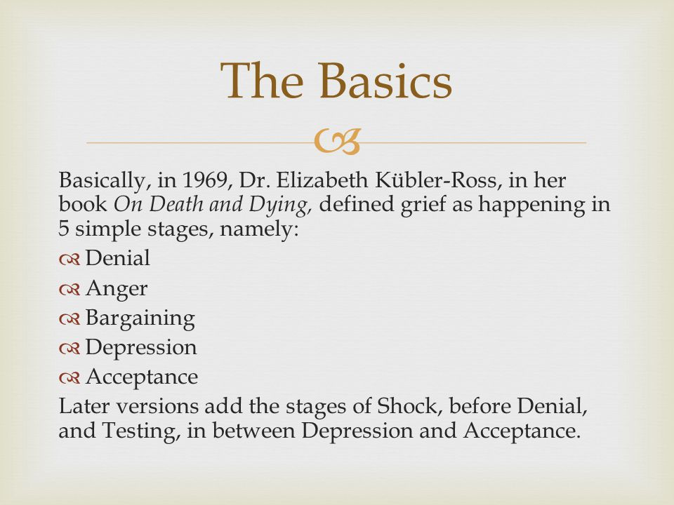 The Basics Basically, in 1969, Dr. Elizabeth Kübler-Ross, in her book On Death and Dying, defined grief as happening in 5 simple stages, namely: