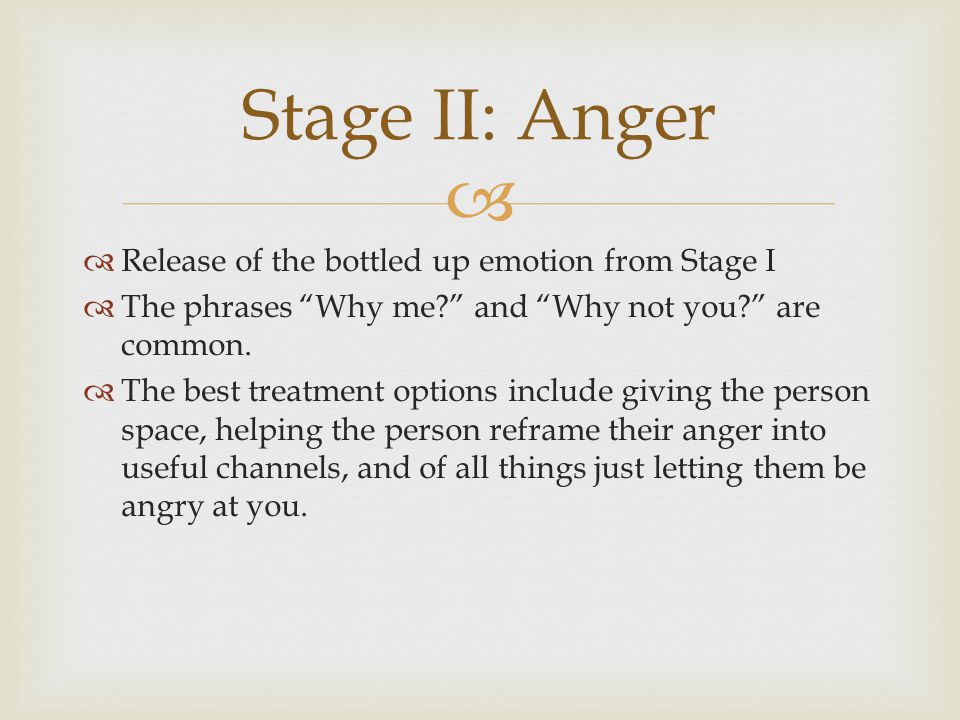 Stage II: Anger Release of the bottled up emotion from Stage I