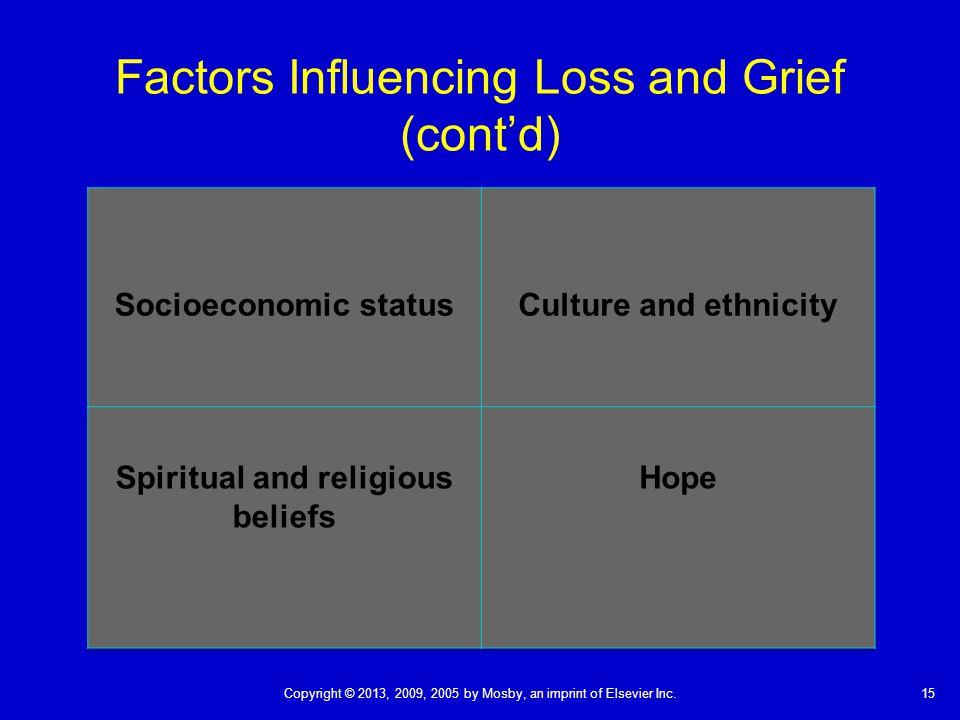 Factors Influencing Loss and Grief (cont'd)