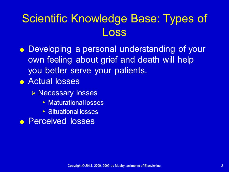 Scientific Knowledge Base: Types of Loss