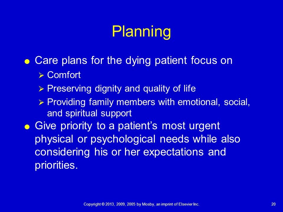 Planning Care plans for the dying patient focus on