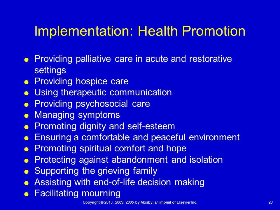 Implementation: Health Promotion