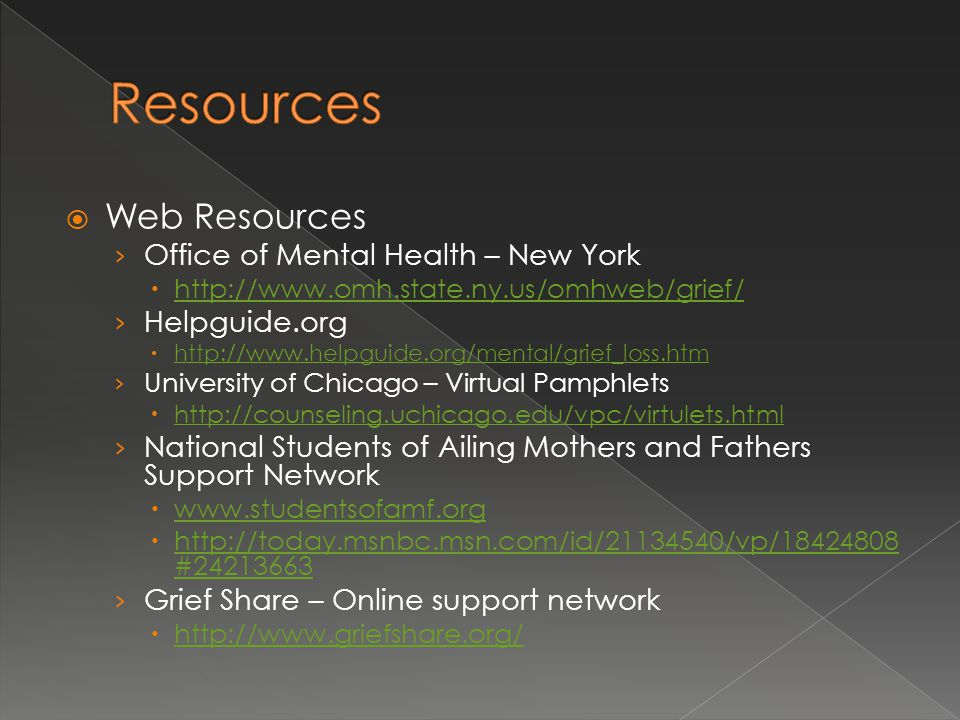 Resources Web Resources Office of Mental Health – New York