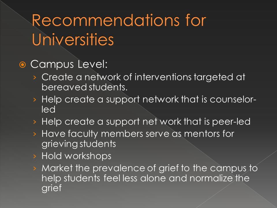Recommendations for Universities