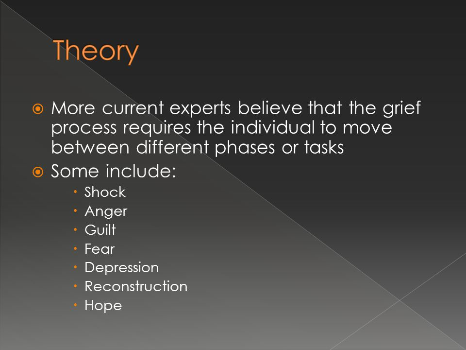 Theory More current experts believe that the grief process requires the individual to move between different phases or tasks.