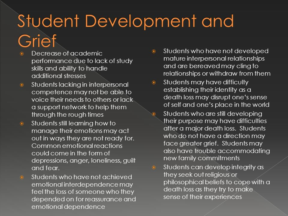 Student Development and Grief