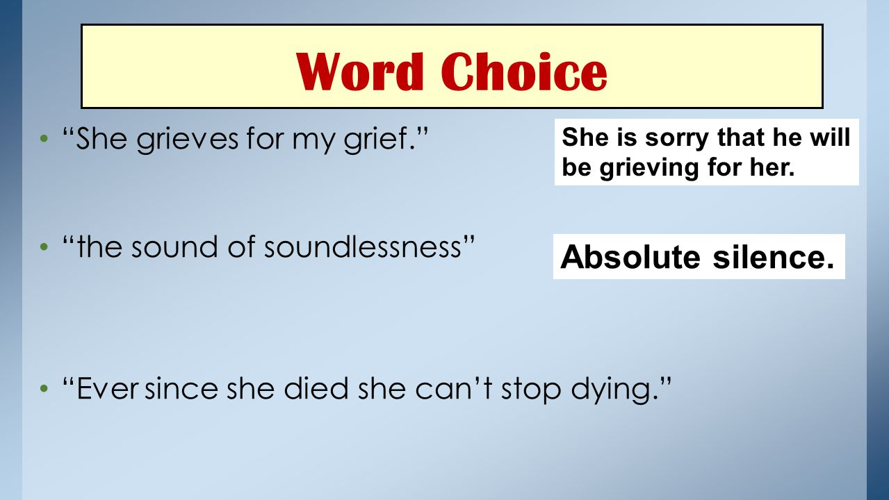 Word Choice Absolute silence. She grieves for my grief.