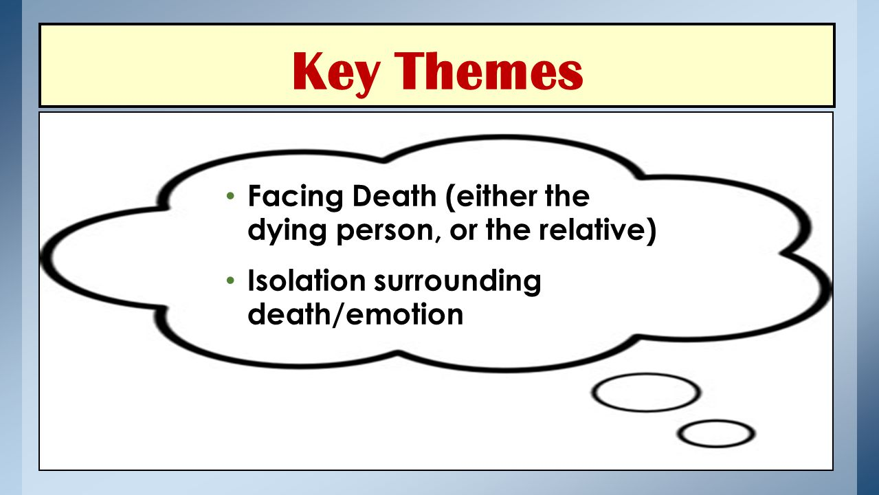 Key Themes Facing Death (either the dying person, or the relative)